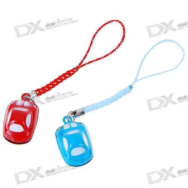 Cute Car Small Bell Kirksite Couple's Cell Phone Straps (Pair)