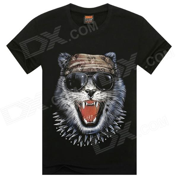 Cat on 3D Glasses Pattern Cotton Short-sleeved T-Shirt - Black (Size XL)