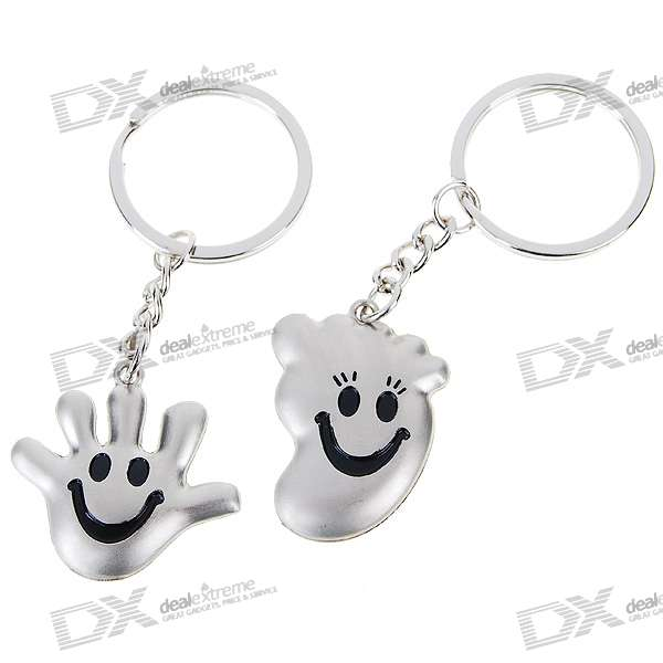 Palm and Feet Shaped Kirksite Couple's Keychains (Pair)