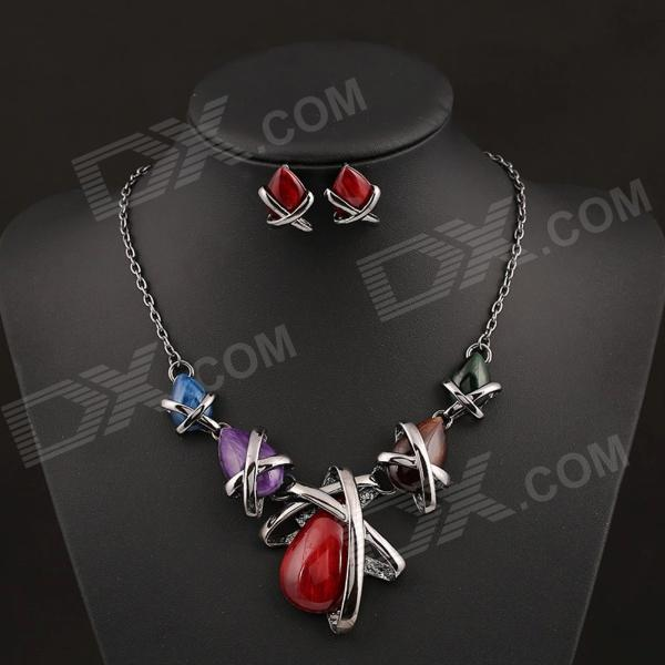 SAPREAL JT1004 Womens Rhinestone Ornament Zinc Alloy Necklace + Earrings Set - Multicolored - DXNecklaces<br>Color custom10000 Brand SAPREAL Model JT1004 Quantity 1 Set Shade Of Color Multi-color Gender Women Suitable for Adults Chain Material Gold plating Pendant Material Zinc alloy + gemstone Chain Length 50 cm Chain Width 0.3 cm Packing List 1 x Necklace 2 x Earrings<br>