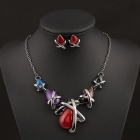 SAPREAL JT1004 Women's Rhinestone Ornament Zinc Alloy Necklace + Earrings Set - Multicolored