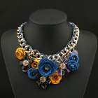 SAPREAL JX2002 Women's Fashion Flower Shaped Zinc Alloy Necklace - Blue + Orange + Multi-color