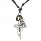 Lightning-shaped Zinc Alloy Pendant PU Chain Necklace - Coffee