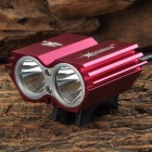 X2 900lm 4-Mode White Bike Light w/ Indicator / Cree XM-L T6 - Deep Pink + Silver (4 x 18650)