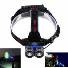 KINFIRE S200 1100lm 3-Mode White Outdoor Headlamp w/ 2 x CREE XM-L2 - Black + Blue (2 x 18650)