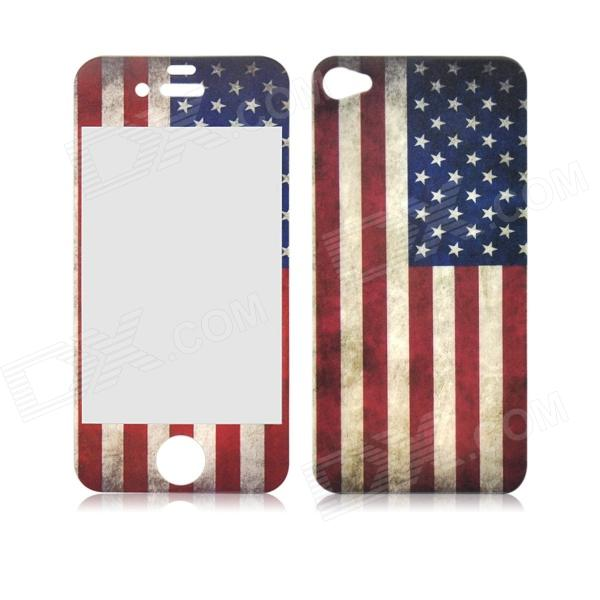 Retro US Flag Front and Back Tempered Glass Screen Protector for IPHONE 4 / 4S аксессуар защитное стекло monsterskin 3d pc glass для apple iphone 6 plus white