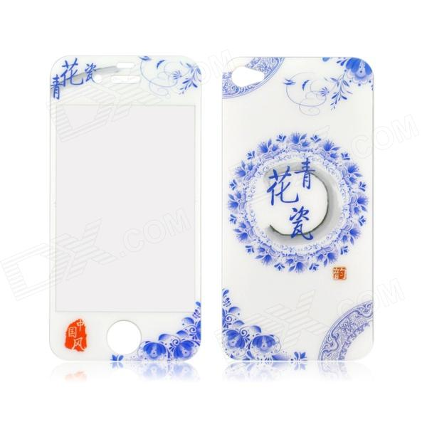 Blue and White Porcelain Pattern Front & Back Tempered Glass Screen Protector for IPHONE 4 / 4S retro us flag front and back tempered glass screen protector for iphone 4 4s
