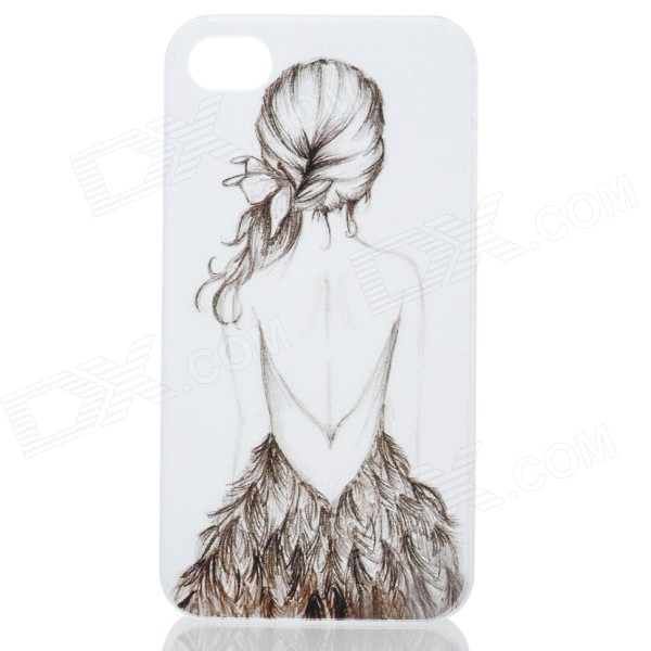 Long Hair Beauty Girl Pattern Ultra Thin PC Back Case for IPHONE 4 / 4S - White + Brown