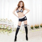 Women's Fashionable Sexy Football Girl Style Cosplay Role Play Sleep Dress Set - Black + White