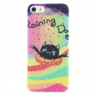 Cute Cat Protective TPU Back Case for IPHONE 5 / 5S - Black + Yellow + Multi-Color