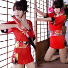 Women's Fashionable Sexy CK Style Cosplay Role Play Sleep Dress Set - Red