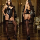 Women's Fashionable Sexy Cosplay Role Play Sleep Dress Set - Black