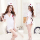 Women's Fashionable Sexy Nurse Style Cosplay Role Play Sleep Dress Set - White
