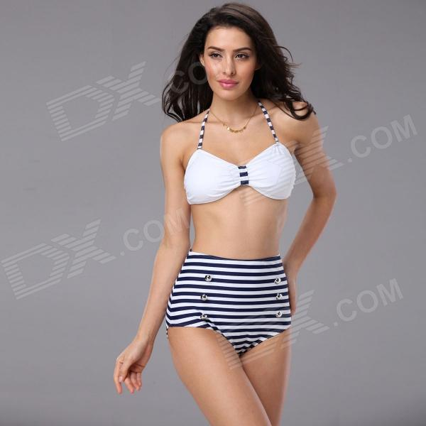T132 Women's Naval Striped Nylon + Lycra + Spandex Bikini Swimwear Swimsuit - White + Blue (M)