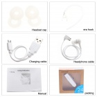 Bluetooth V4.0 Earhook Handsfree Stereo Headset w/ Microphone - White
