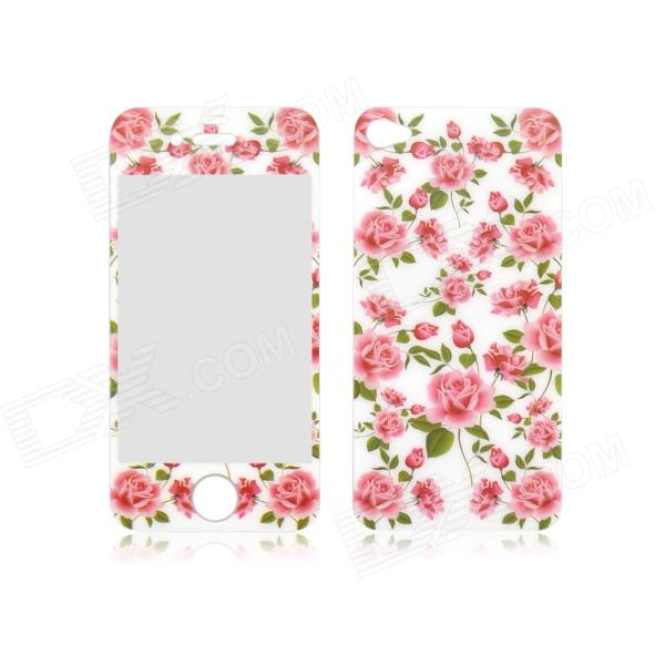 Angibabe Rose Pattern Front and Back Tempered Glass Screen Protector for IPHONE 4 / 4S fema for iphone 6s plus 6 plus front back 6d colorful laser tempered glass screen films colorful geometric pattern