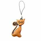 Cute Fortune Cat Style Cell Phone Strap - Brown