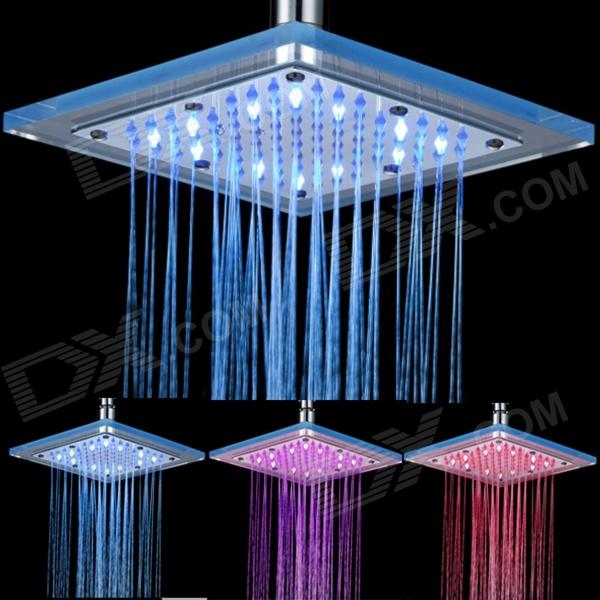 Shending LD8030-B5 Temperature Control LED Blue / Pink / Red Light Square Shower Head - Silver shending ld8030 a4 led blue pink red acrylic stainless steel round shower head silver