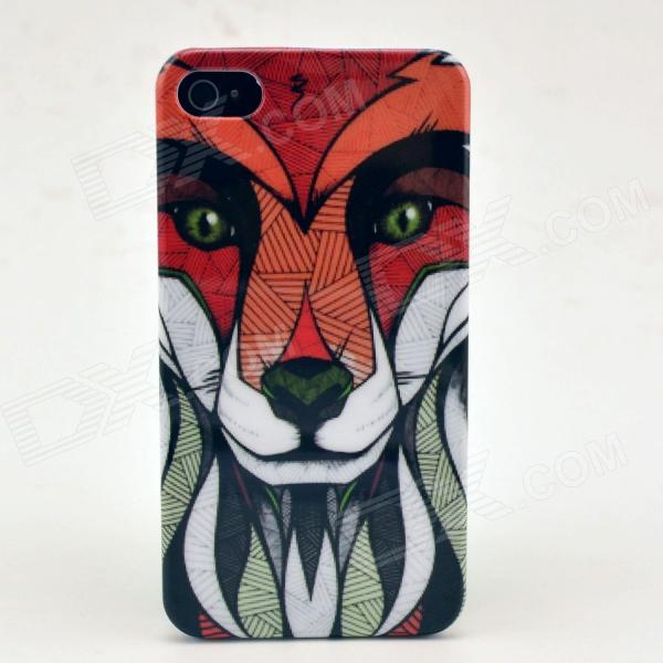 Lion Pattern Plastic Hard Back Case for IPHONE 4 / 4S - Multi-Colored fierce tiger pattern protective plastic back case for iphone 4 4s multi color