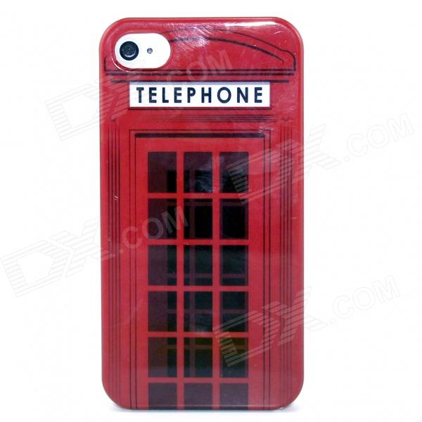 Red Telephone Box Pattern Plastic Hard Case for IPHONE 4 / 4S - Red + Black fierce tiger hard case cover for iphone 6s 6 4 7 inch