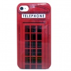 Red Telephone Box Pattern Plastic Hard Case for IPHONE 4 / 4S - Red + Black