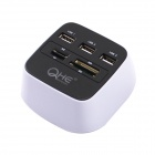 QHE All-in-one USB 2.0 HUB + Card Reader - Black + White