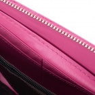 Women's Stylish Zippered 3-Compartment PU Wallet Purse w/ 8 Card Slots - Rose Red