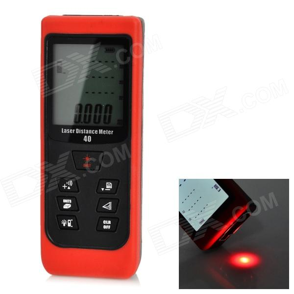 D40 Handheld Waterproof 1.8 Display 40m Laser Distance Meter - Dark Red + Black (2 x AAA) yihm hm 40 1 8 lcd handheld laser distance meter black blue 2 x aaa 0 05 40m