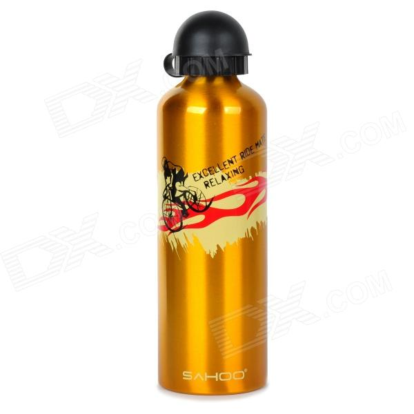 SAHOO Portable Light Weight Alloy Water Bottle for Cycling / Sports - Golden + Yellow (750mL)