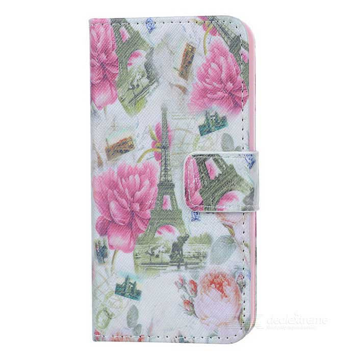 YI-YI Flowers / Towers Patterned Flip-open PU Leather Case w/ Stand for IPHONE 5 / 5S - White + Pink grip pattern protective pu leather plastic case w stand auto sleep for ipad air purple
