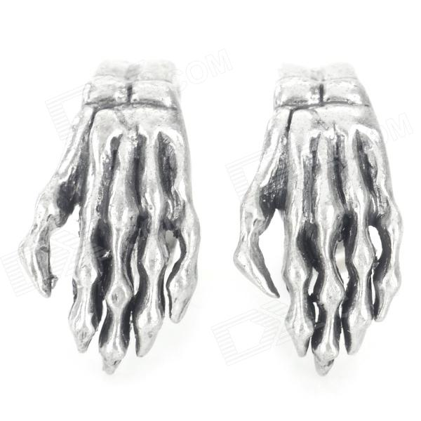 European and American Style Hand Bones Shaped Zinc Alloy Ear Studs - Antique Silver
