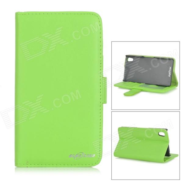 Protective Flip-Open PU Leather Case w/ Card Slots / Stylus for Sony Xperia Z2 - Green protective flip open pu case w stand card slots for samsung galaxy s4 active i9295 black