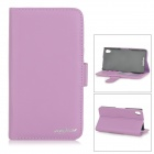 Protective Flip-Open PU Leather Case w/ Card Slots / Stylus for Sony Xperia Z2 - Purple