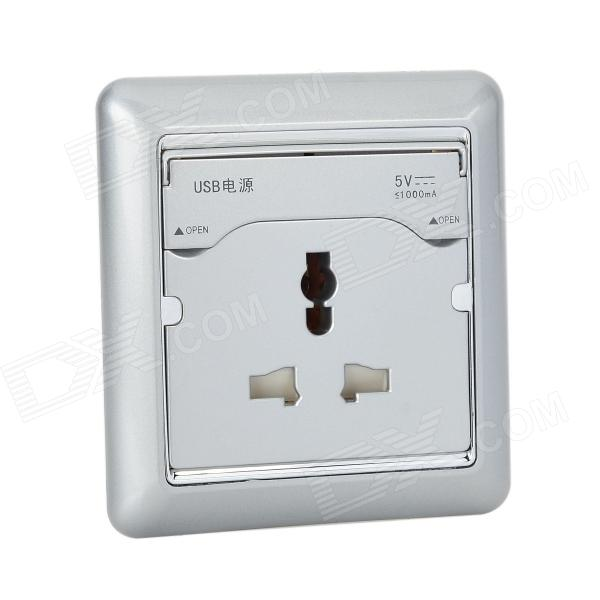 Universal Dual-USB + UK Plug Wall Mount Socket - Light Grey