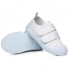 IQLE LI-17 Kid's Comfortable Canvas Shoes w/ Velcro Band - White (Size 25)