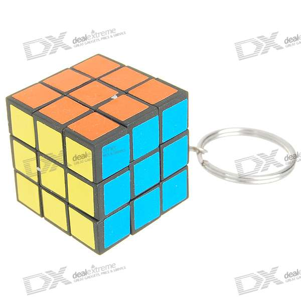 Mini 3*3*3 Brain Teaser Magic IQ Cube Keychain - Multicolord