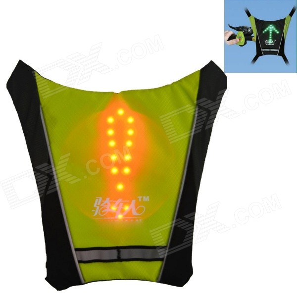 Bikeman Safety Warning R/C Signal Lamp Vest for Cycling - Fluorescent Green
