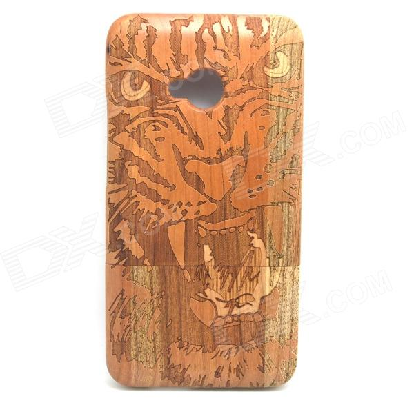 Lion Pattern Detachable Protective Wood Back Case for HTC ONE M7 protective pvc back case for htc one x s720e deep pink