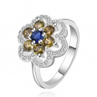 Women's Flower Shaped Rhinestone Inlaid Ring - Silver + Yellow (U.S Size 8)