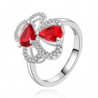 Women's Elegant Heart Style Rhinestone Inlaid Ring - Silver + Red (U.S Size 8)