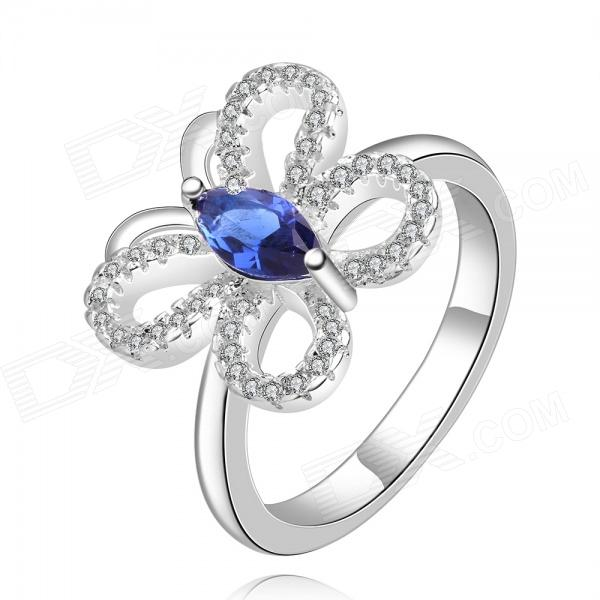 Women's Elegant Butterfly Shaped Rhinestone Inlaid Ring - Silver + Blue (U.S Size 8)