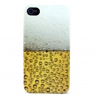 Beer Pattern Plastic Hard Back Case for IPHONE 4 / 4S - Yellow + White