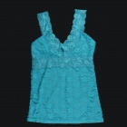 Fashion Sexy V-Neck Hollow Out Lace Vest Top for Women - Sky Blue (Size M)