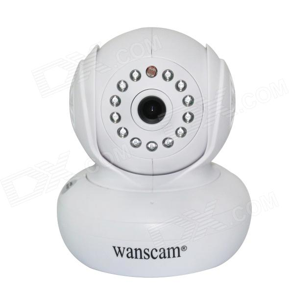 WANSCAM JW0004 1/4 CMOS 0.3MP Wireless P2P Indoor IP Camera w/ 13-IR-LED / Wi-Fi - White (UK Plug) wanscam jw0004 1 4 cmos 0 3mp wireless p2p indoor ip camera w 13 ir led wi fi white eu plug