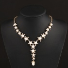 SAPREAL JX2012 Five Star Style Rhinestone Inlaid Zinc Alloy Necklace for Women - Golden + White