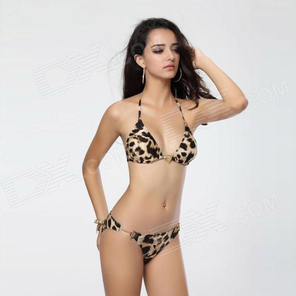 T102 Womens Sexy Leopard Nylon + Lycra + Spandex Bikini Swimwear Swimsuit (M) - DXWomens Swimwear<br>Color Light Brown Brand TOPMELON Model T102 Quantity 1 Set Material Nylon + lycra + spandex Size M Gender Womens Type Swimsuits Waist Girth 66~68.5 cm Hip Girth 91.5~94 cm Packing List 1 x Bikini<br>