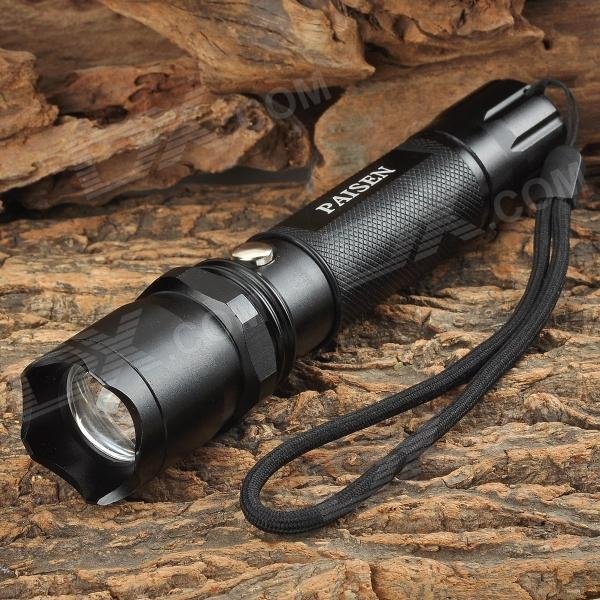 Portable 3W LED 3-Mode White Zooming Water Resistant Flashlight - Black (1 x 18650)