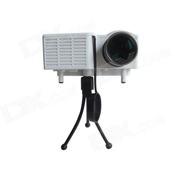 HL0079 Mini 192KHz HD LCD Projector w/ AV, GVA, USB, SD - White