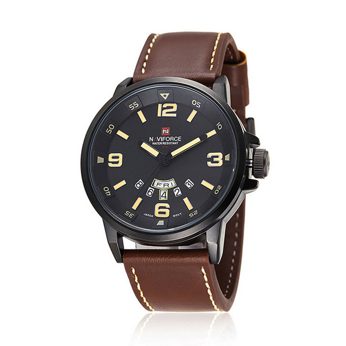 Men's Military Style PU Band Analog Quartz Sport Watch - Black + Brown (1 x SR626SW) high quality 20mm 22mm 24mm leather watch strap man watch straps black brown gray stainless steel buckle thick line watch band