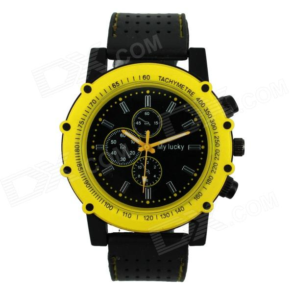 Men's Football Series Sports Silicone Band Analog Quartz Wrist Watch - Yellow + Black (1 x 377)